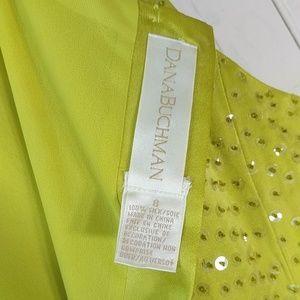 Dana Buchman Tops - Dana Buchman lime green silk sequin sleeveless 8
